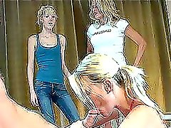 Horny blonde gives a blowjob and then her mom joins