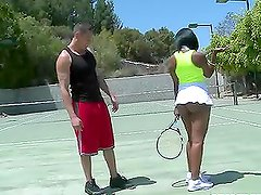Horny ebony babe having interracial sex after tennis game