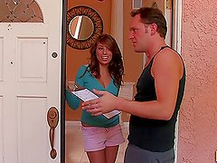 Sexy girl Melissa seduces a repairman and has a fuck with him