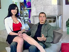 Busty beunette Beverly Paige gives a titjob and has sex