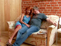Older guy screws sexy redhead