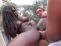 White dick for black in hot hardcore interracial sex