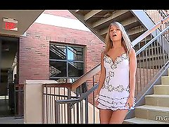Innocent babe Amie is walking outside taking breaks for pussy games