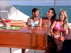 Busty Blonde and Hot Brunette Fucked in Boat Threesome
