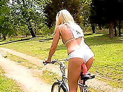 A Nice Bike Ride With A Stunning Blonde Babe