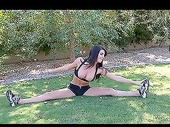 Racquel is doing gymnastcs in the park NAKED