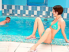 Short Haired Brunette Gets Cocked Big Time By The Pool.