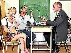 Cute Blonde Slut In Skirt Gets Fucked By Two Guys.