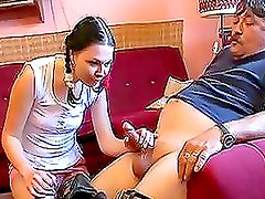 Horny teen babe heals her father from stomach ache
