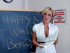 Lovely Busty Blonde Huge Cock Classroom With With Cum Swallow