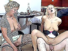 Blonde chick toys her mom while father fucks his daughter