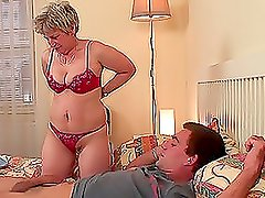 Sex hungry mature lady fucks her son-in-law in his bedroom