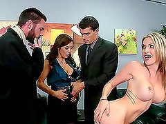 Two Horny Studs Fucking Two Busty Sluts in the Office