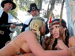 Pilgrims Stuffing Sexy Indians's Pussies with Cock Like Turkeys