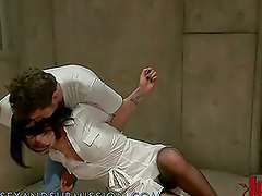 Brunette Nurse Fisted and Fucked by the Crazy Dude in Booby Hatch