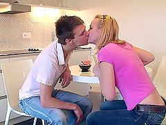 Blonde Pussy Licking Addict Alisa and Eugen Kitchen Teen Sex