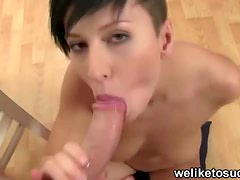 Punk girl sucks cock for fun