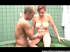 Mother in law sucks his hard cock