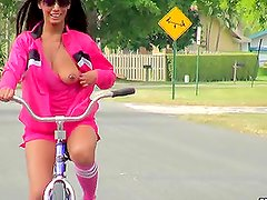 Adriana Milano Riding Bike Naked and Masturbating in the Park