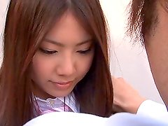 Blowjob and Facial Cumshot for Cute Japanese School Girl