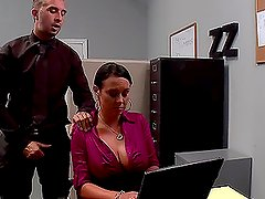 Perverted Boss Having Fun with Mariah Milano's Big Boobs and Shaved Snatch