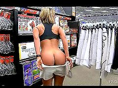Blonde Shows Her Boobs and Ass in Public at Shopping Mall