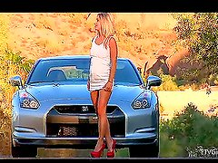 Naughty Blonde Slut Outdoors Stripping Like Crazy and Loving it