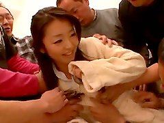 Kinky Japanese Drinking Piss in Wild Gangbang
