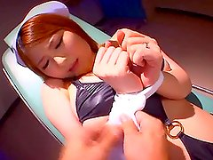 Stunning Japanese Nurse Tied Up and Fucked with Clothespins on her Boobs