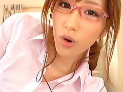 Cute Asian Babe In Glasses Teasing And Sucking A Hard Cock in POV Vid