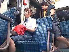 Cute Japanese School Girl Sucks and Fucks in Public Bus
