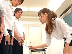 Beautiful Asian Teacher Giving Head To a Bunch of Pupils in Class