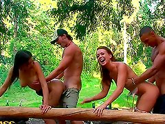 Hot Foursome With College Teens Outdoors