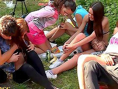 Hot college babe goes horny in the countryside
