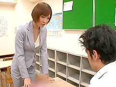 Sexy Teacher Gives a Handjob to Naughty Student