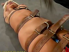 Busty Blonde Gets Restricted with Belts