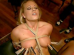 After Getting Tied Up and Fucked a Sex Machine Makes The Blonde Cum