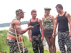 Drilling a Blonde Private in Outdoors Gangbang