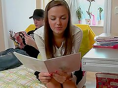 Horny Teen brunette gets banged hard by Her Groupmate
