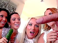 Four Horny Pornstars Having Fun with One Big Hard Cock in CFNM Porn Clip