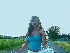 Teen Brunette Flashes Her Juicy Jugs in Public For A Reality Video