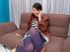 Beautiful Asian Model Having a Threesome with Her Pantyhose on