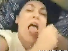 Take a look at this homemade video of a brunette giving intensive blowjob