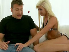 Tight  slim blonde  gives  one starange guy eager blowjob