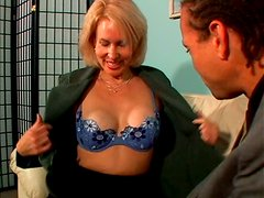 Brutal macho makes milf pussy of blonde lady Erica Lauren horny for wild quickie