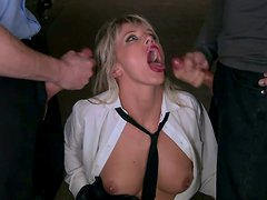 Busty business lady Natalli Di Angelo gets DPed by two robbers