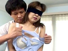 Blindfolded Asian chick Wakana Sakai gets ready for a fuck