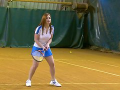 Busty blonde Sabrina Sweet has a threesome after playing tennis
