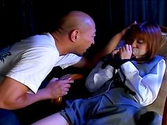 Bald dude seduces teen slut Nozomi Momoi and plays with her tight pussy
