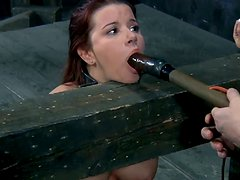Full breasted babe Sarah Blake gives head to dildo in BDSM sex video